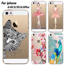 Телефон чехол для iPhone 4 4S 5 5S 6 6 плюс мягкий силиконовый прозрачный прекрасный кот девушка цветы животные печатных