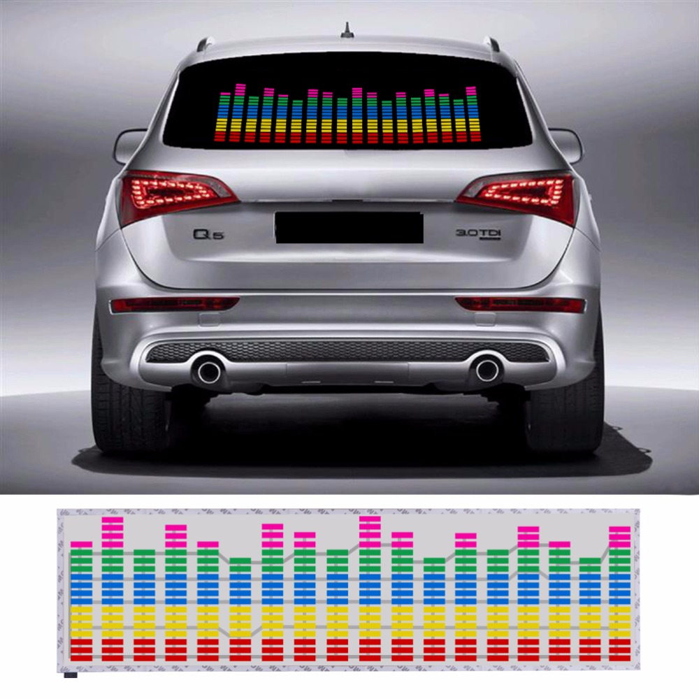 90*25 CM Colourful Music Rhythm Pattern Car Sticker EL Sheet Music Equalizer Car Windshield Sticker Sound Activated Light(China (Mainland))