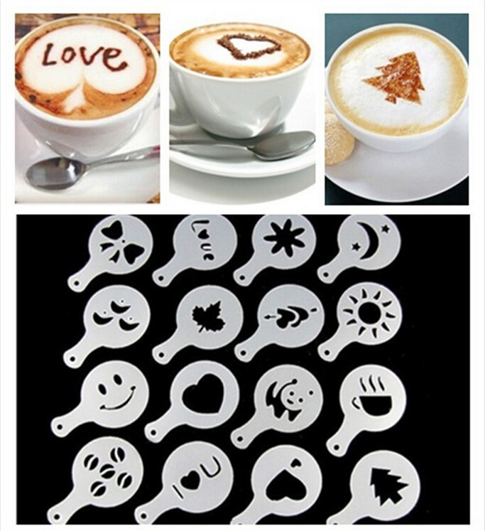 Free shipping 16Pcs set Fashion Cappuccino Coffee Barista Stencils Template Strew Pad Duster Spray Tools