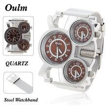 2015 hot venta OULM 1167 hombre genuino de la correa de acero inoxidable deportes zona horaria múltiple cuarzo reloj de buceo