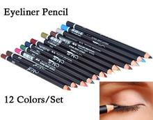Fashion Eye Make Up Eyeliner Pencil Waterproof Eyebrow Beauty Pen Eye Liner Lip Sticks Cosmetics Eyes Makeup 12Color(China (Mainland))