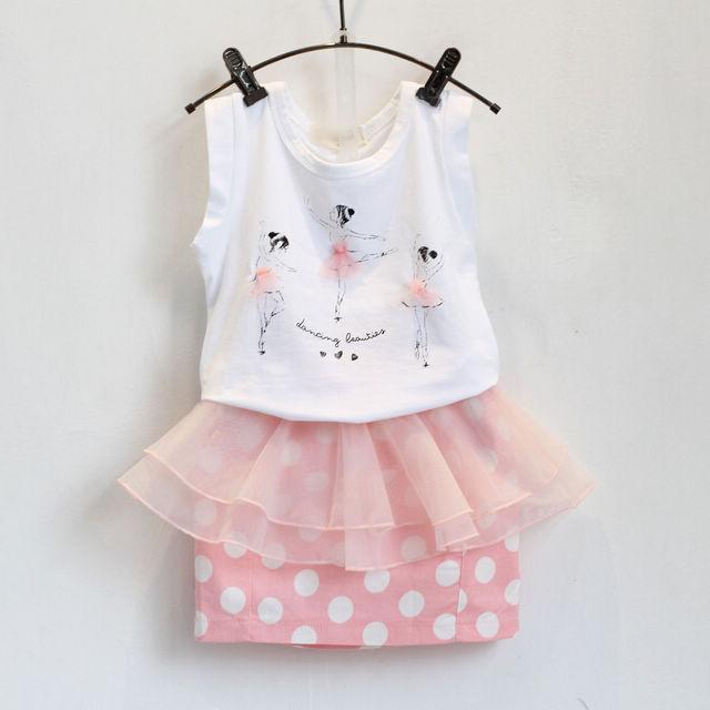 2PCS/1-7Years/Korean Fashion Kids Summer Baby Girls Clothes Cartoon Sleeveless T-shirt+Dot Skirts Childrens Clothing Set BC1155