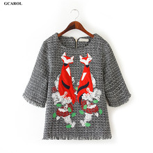 Women Celebrity Tops Linen Fox Floral Embroidery Pullover 3/4 Sleeve Manual Beaded Coat Back Zip Fastening Outwear(China (Mainland))