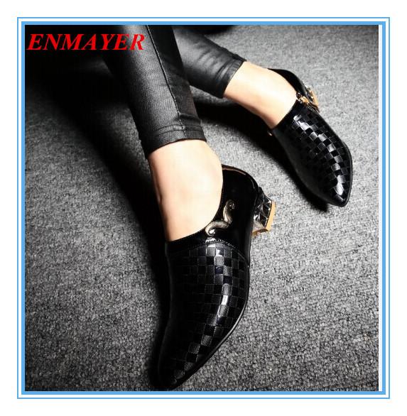ENMAYER   size 34-43 Pointed Toe Square heel med Women High Heeled Shoes PU Platform Pumps BIG SIZE 34-43 Spring / Autumn shoes<br><br>Aliexpress