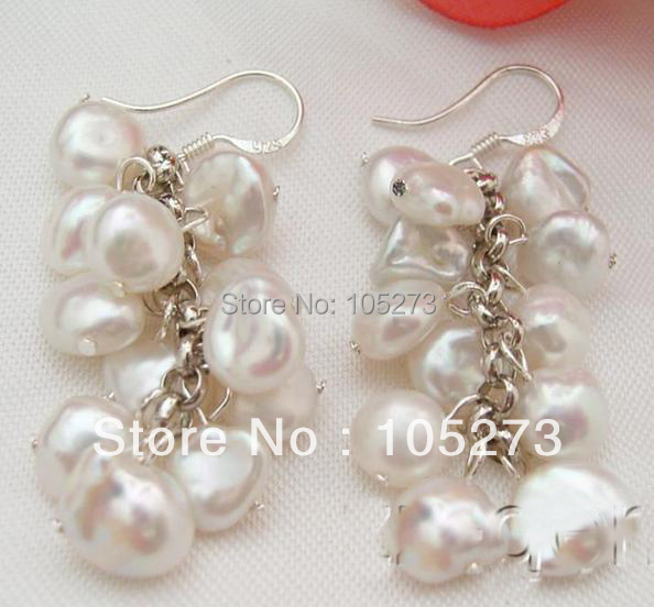 New Arriver Chirstmas Jewellery ! Stunning Natural White Keshi Genuine Pearls Earrings S925 Silver Hook Hot Sale Free Shipping<br><br>Aliexpress