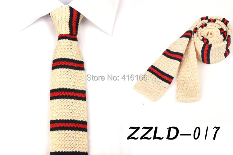 Fashion Leisure Men Simple Style Knitted Striped Neck Ties Necktie Flat Narrow Neckwear 18 colors - Bo Shop store
