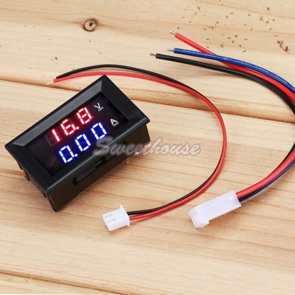 Best Selling Red Blue LED DC 0-100V 10A Dual Digital Voltmeter Ammeter Current Meter Panel Amp Volt Gauge 25(China (Mainland))