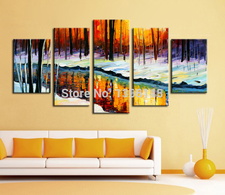 Wall Decor Set Of 5 : Panel wall decor modern art painting on set forest