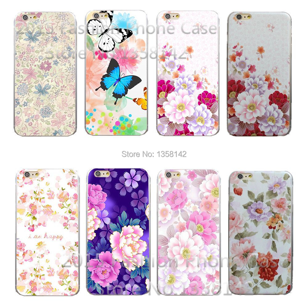 2016 New Arrive Romantic Flower 19 Design Painted Black Cover Case Apple Phone iPhone 6 6S 4.7 inch 1Piece - HongKong Five-A Group Co.,Ltd store