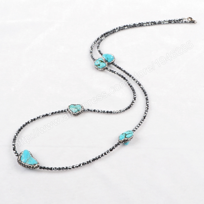 Wholesale Necklace Paved Zircon Five Natural Freeform Turquoise Faceted Beads Black Chain Fashion Jewelry For Women JAB170(China (Mainland))