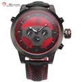 Requiem Shark Sport Watch 6 Hands Leather Strap Calendar 24 Hours Black Red 3D Dial Cycling