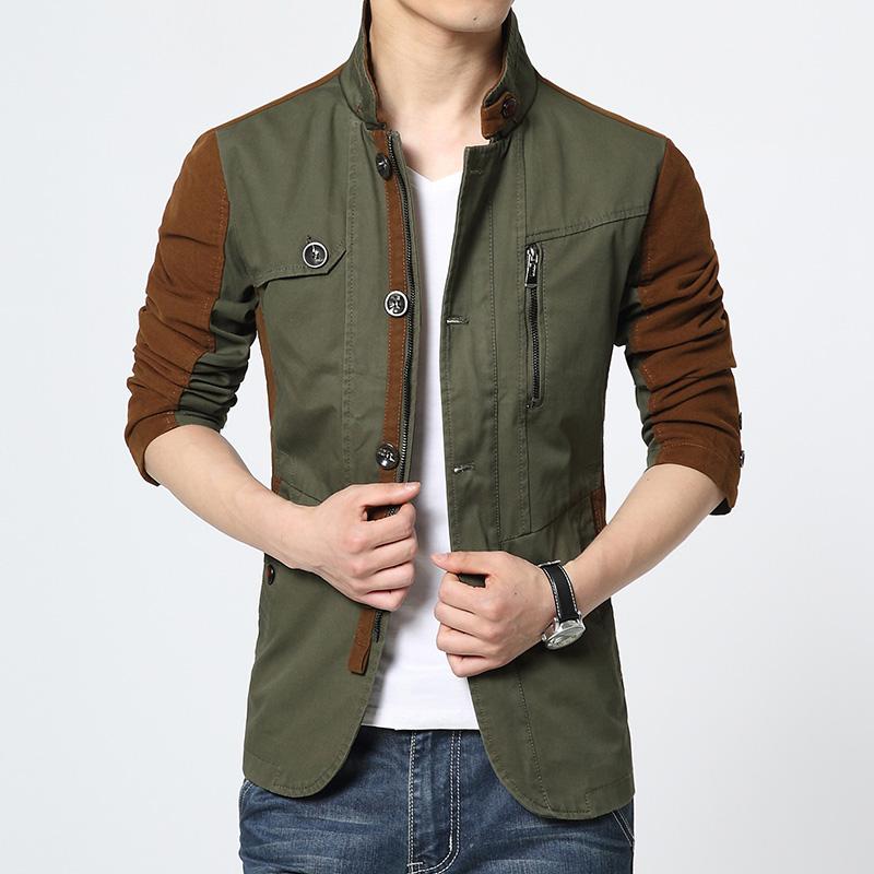 2015 Casual Korean Men Trench Coat Long Sleeve Coat for Men Slim Fit Military Green Windbreaker Jacket Winter Homme Men's Jacket