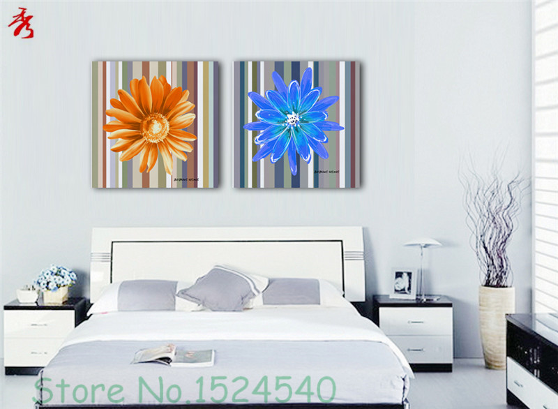 Simple Pattern stripe orange daisy blue abstract flower Modular Picture Art Photo Canvas Printing Home Room Wall Decor Unframed(China (Mainland))
