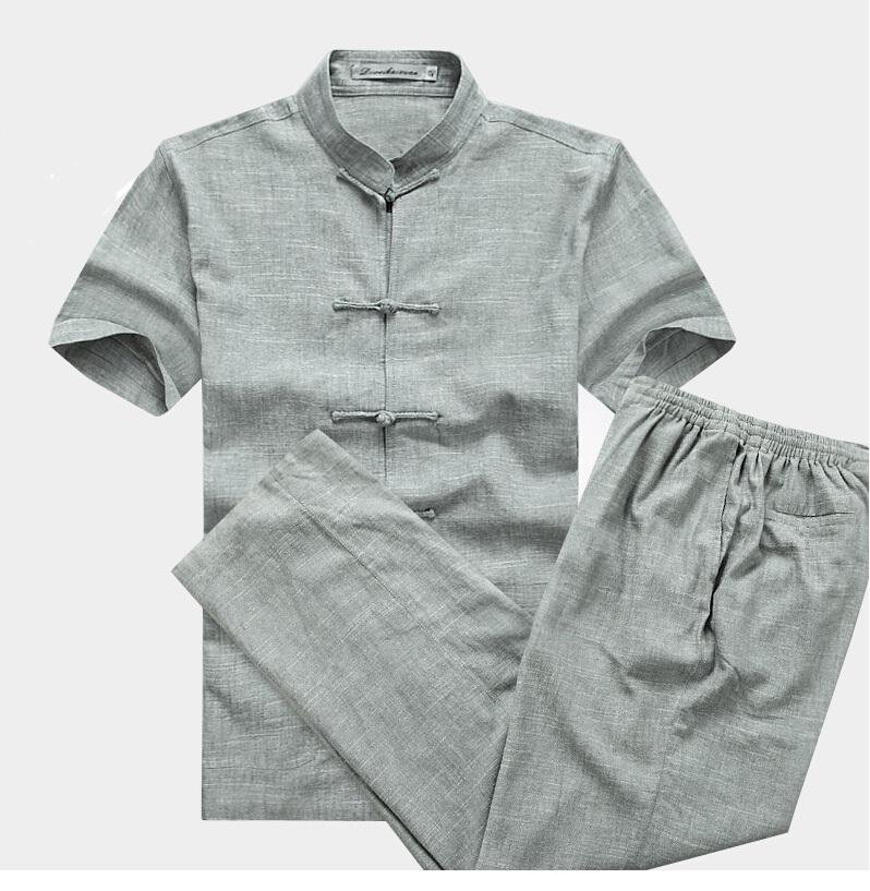 Chinese Vintage Men's Cotton Linen Suit Kungfu Sets Mandarin Collar Martial Arts Uniform Shirt &Pant S M L XL XXL XXXL(China (Mainland))
