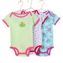 3PCS/lot baby girls bodysuits children boys jumpsuit toddler short sleeve envelope collar newborn baby clothing(China (Mainland))