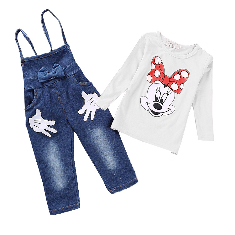 &E-babe&Wholesale 2016 new children's clothing sets baby girls Minnie T-shirt +denim overalls suits 2 pcs sets free shipping(China (Mainland))