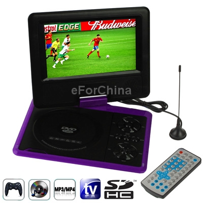 """Purple 7.5"""" TFT LCD Digital Multimedia Portable DVD with Card Reader USB TV PAL NTSC SECAM Game Function SD/ MS/ MMC Card(China (Mainland))"""