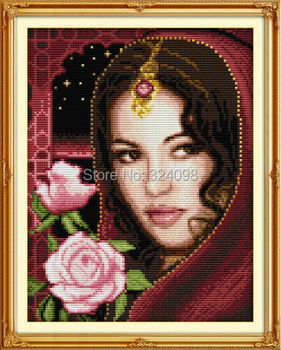 Wholesale Needlework,Stitch,DIY 14CT DMC Cross Stitch,Sets For Embroidery Kits,The Indian Beauty (3) Counted Cross-Stitching