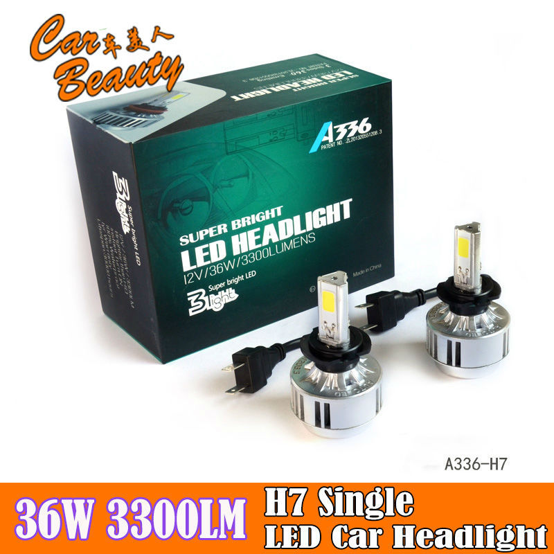 2015 New Hot Sale Led Headlight All In One 36W H7 Car Led Headlight Fog Lamp 3 COB 3300LM 6000K H7 Led Car Headlight Bulbs(China (Mainland))