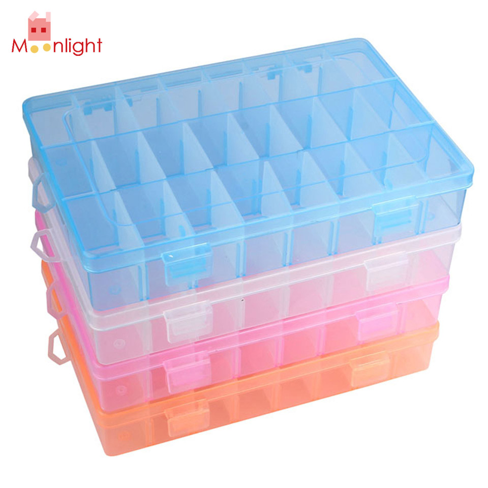 BEST Jewelry Storage Box Adjustable 24 Cells Compartment Storage Box Jewelry Earring Case 4 Colors 19cm x 12.5cm x 3.5cm(China (Mainland))