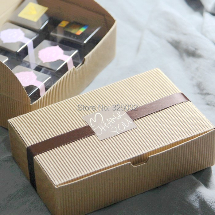 Present choose! Corrugated board Kraft paper box set w/ribbon/seal label/rope/lace gift/cake/biscuit Packaging material - Bee Honey Store store