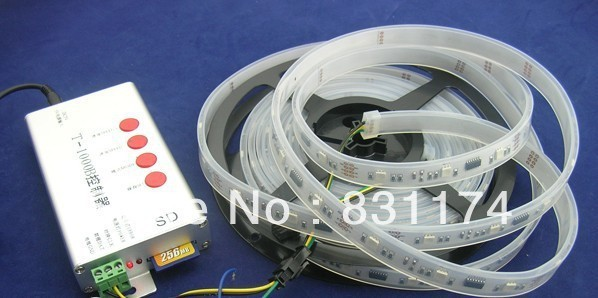 New 5m TM1809ic 30leds/m LED digital strips,with 30pcs  built-in the 5050 smd rgb led chip.waterproof IP67,DC12V,White PCB