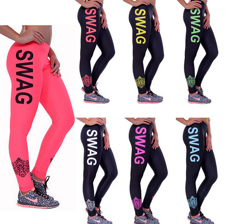 s xl fashion 2015 woman sport leggings swag letter print. Black Bedroom Furniture Sets. Home Design Ideas