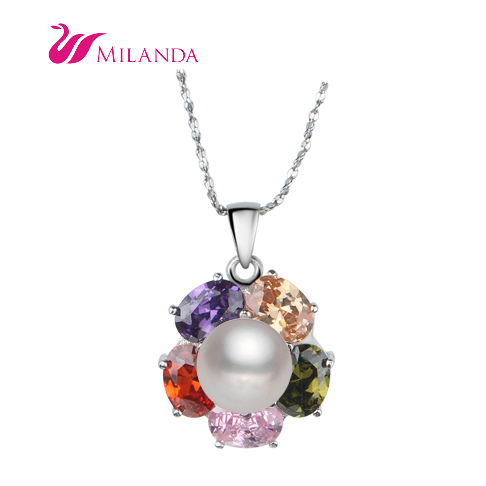 2016 Fashion 925 Sterling Silver Fittings Pearl Pendant Necklace Jewelry Freshwater Genuine AAA Natural Pearl Pendant For Women(China (Mainland))