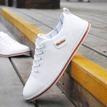 Autumn New Arrival 2016 Male Shoes Trend Lacing Shoes Daily Casual Leather Shoes White Black Moccasins Men Oxfords Shoes 2.5A