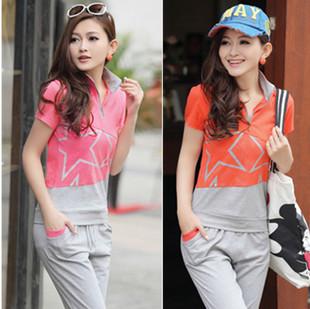 hot sale Lycra cotton sweet slim juniors clothing school wear short-sleeve T-shirt capris sports casual set 8821(China (Mainland))