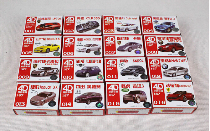 4D Model Kit Cars 1:87 HO Scale Railway Layout NEW,famous model car, building model car(China (Mainland))