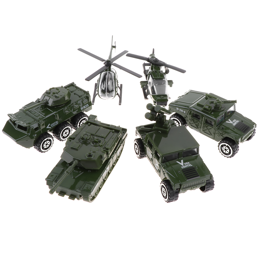 6pcs/set Diecast Metal Army Vehicle Toy Set, 1/87 Scale Jeep Tank Helicopters Car Model Toy for Kids Children