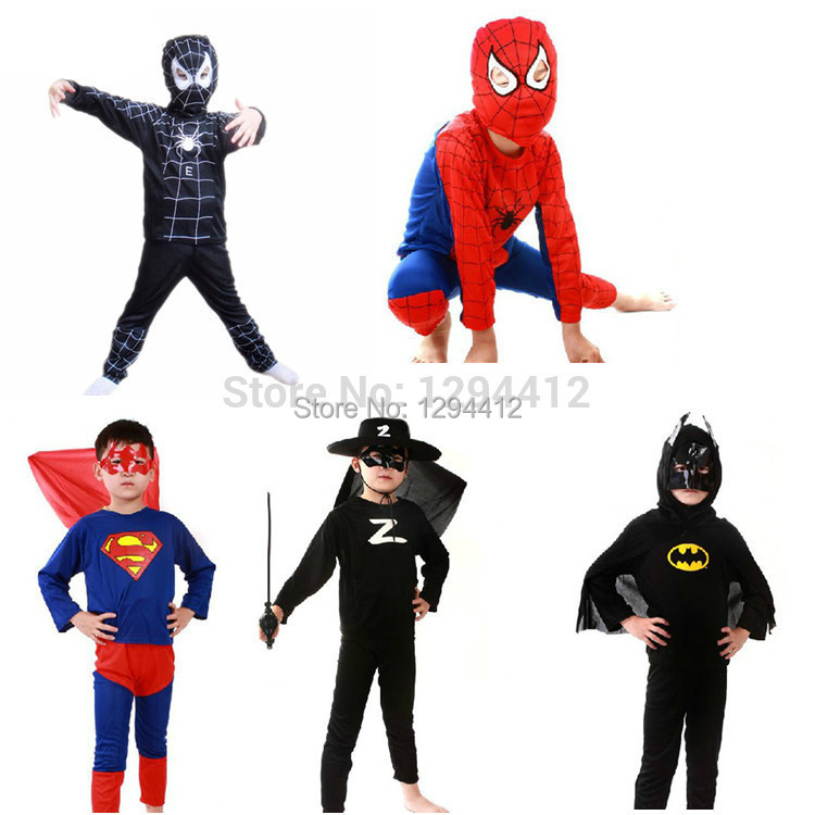 Free shipping spider-man black Spiderman superman batman zorro party cosplay costume kid's Halloween gift play clothes Hot sale