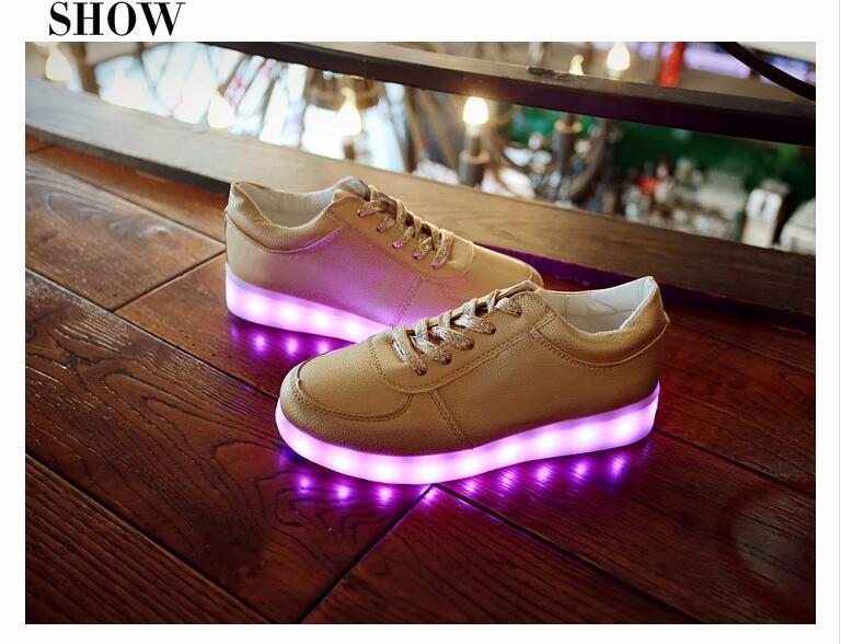 Золото мужчины свободного покроя обувь водонепроницаемый красочные из светодиодов обувь серебряный весна высокое качество женщин мода Большой размер X904 35