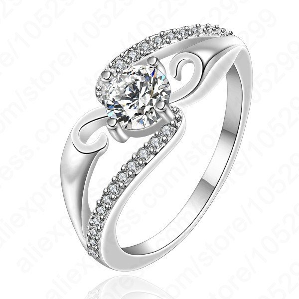 Free shipping best quality 925 sterling silver ring cubic for Sterling silver cubic zirconia wedding rings