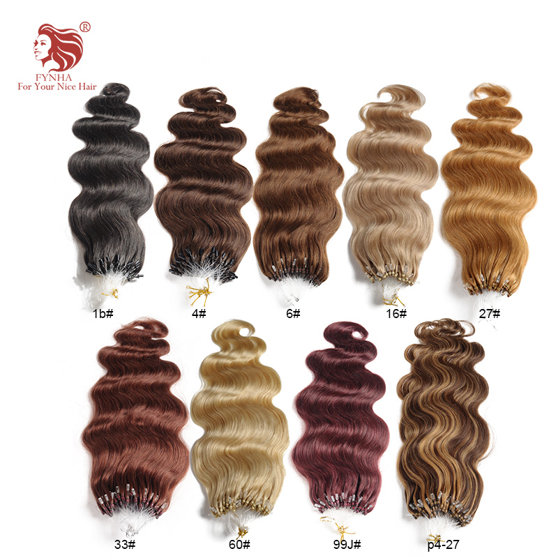 Free shipping 100g/pac body wave micro ring loop hair extensions grade 6A 100% remy human hair 18''-24'' 100s can be customized(China (Mainland))