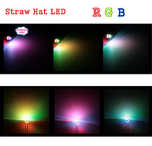 Free Shipping 1000pcs 5mm (4.8mm) Straw Hat LED RGB light Colour / Fast automatic flash / 5MM RGB Colour LED emitting diode(China (Mainland))