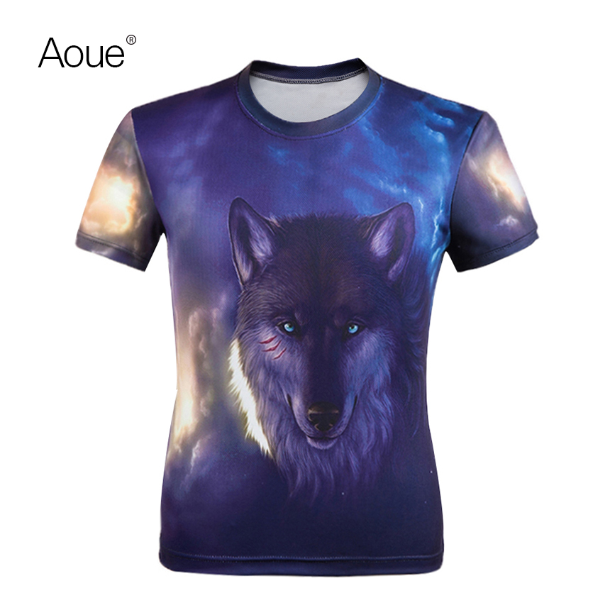 Aoue 3D Men t shirt Novelty Tees short sleeve Fashion Brave wolf animals print funny t shirts(China (Mainland))