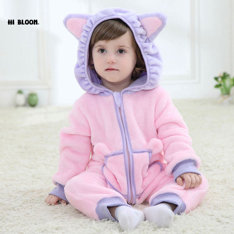 100%Flannel Winter Baby Jumpsuit Romper For Girl Boy Brand Baby Clothing Soft Minion Hello Kitty Cosplay Costume For 0-2Y Infant(China (Mainland))