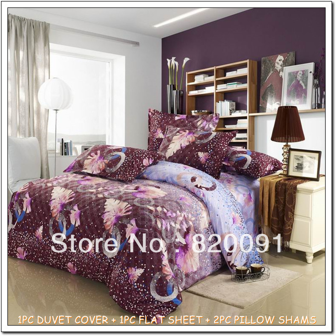 Free Shipping Low-cost Unique Beautiful Bed Sets Duvet Cover Set Bedroom Sets 4PCS For Full/Queen Bed Aloe Fiber-FREE SHIPPING(China (Mainland))