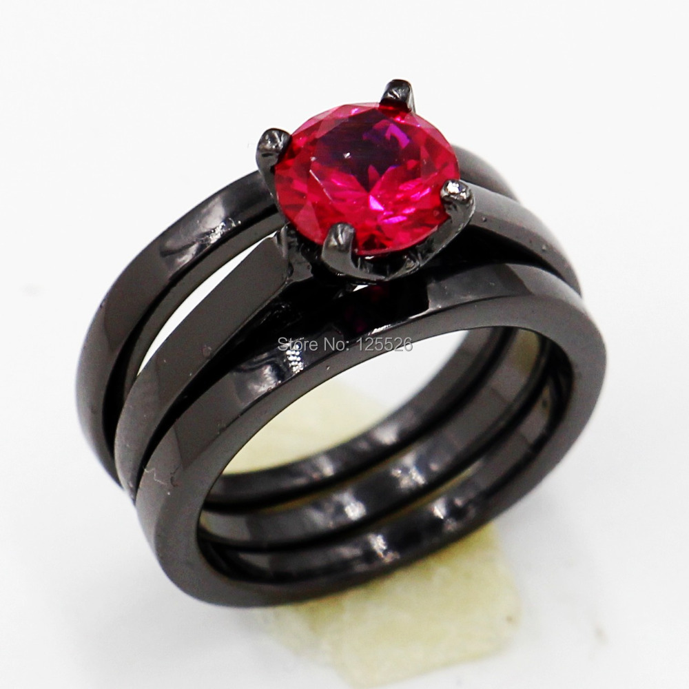 Victoria Wieck Engagement Round Cut Ruby 10KT Black Gold Filled 3 Wedding Band Ring Sets Sz 5 11