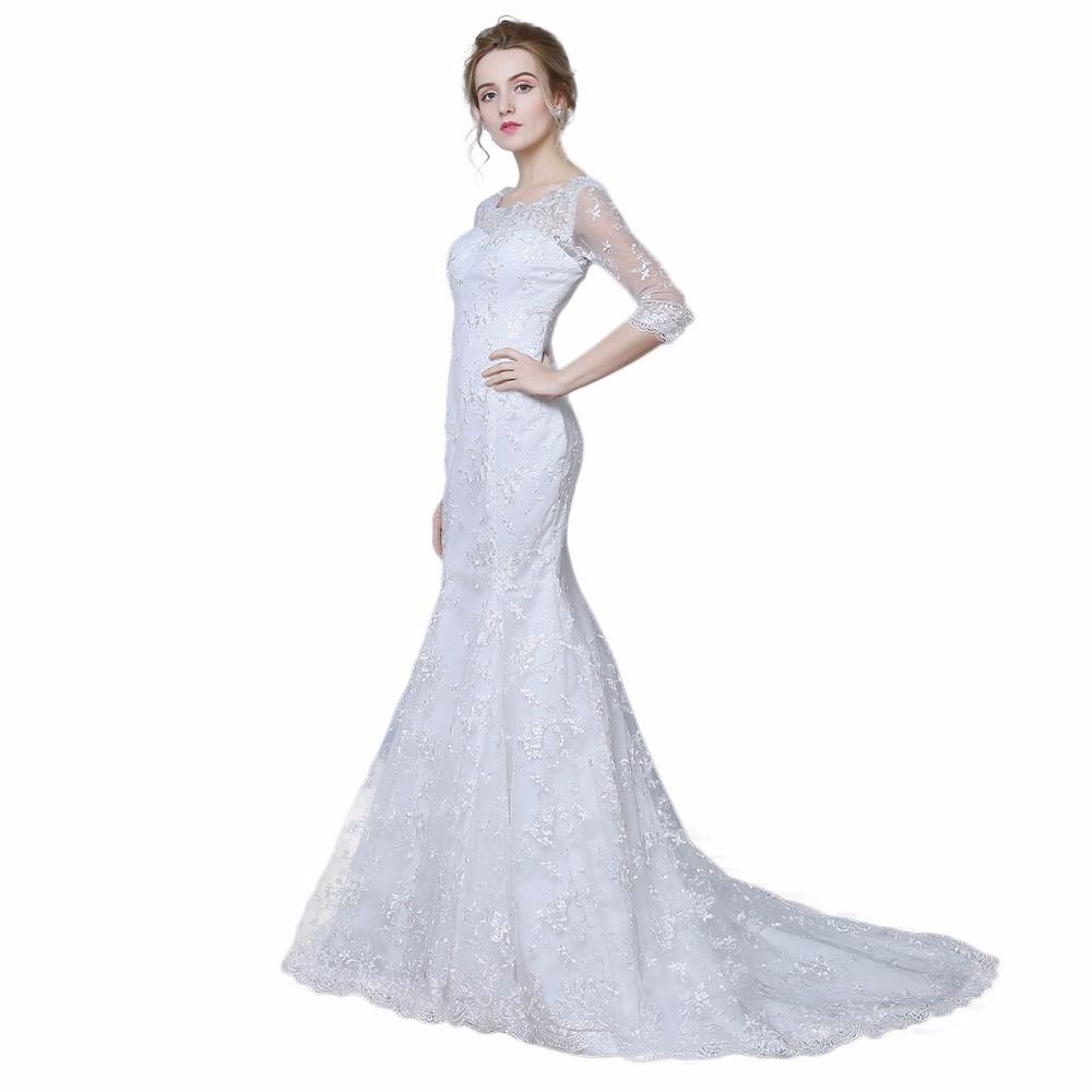 Elegant three quarter sleeve floor length sabrina train for Wedding dresses with three quarter length sleeves