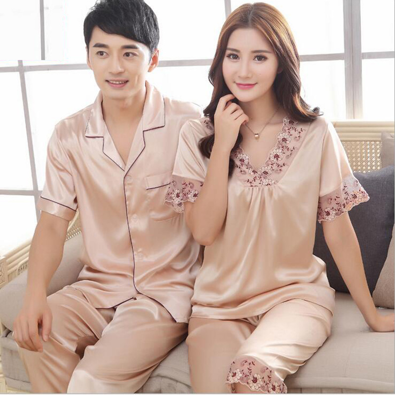 Pajamas for couples lovers imitated silk sexy embroidery lace v-neck,women men champagne red pink classic nightgown KOL K-5815(China (Mainland))