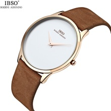 2017 7mm Ultra-Thin Quartz Watch Men Watches IBSO Top Brand Luxury Famous Leather Strap Wristwatch Male Clock Relogio Masculino