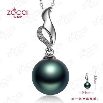 ZOCAI NATURL 9mm-10mm Tahitian BLACK PEARL Diamond Solid 18K WHITE GOLD PENDANT PENDANTS + 925 STERLING SILVER CHAIN Necklace