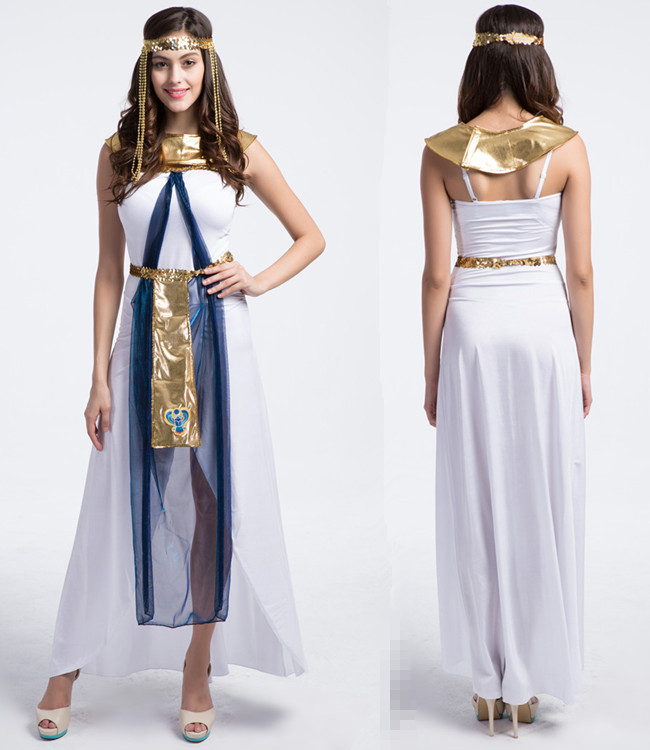 New Greece Egyptian Princess Cleopatra Queen Halloween Adult Cosplay Women Sexy Party Carnival Long Dresses + Head Accessories(China (Mainland))