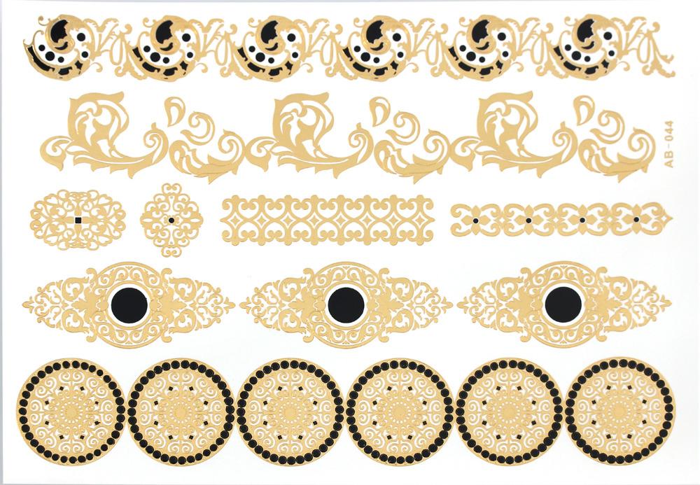 AB44 circle jewelry sticker tattoo metallic golden flash tattoos tattoo large temporary tattoo prices sticker