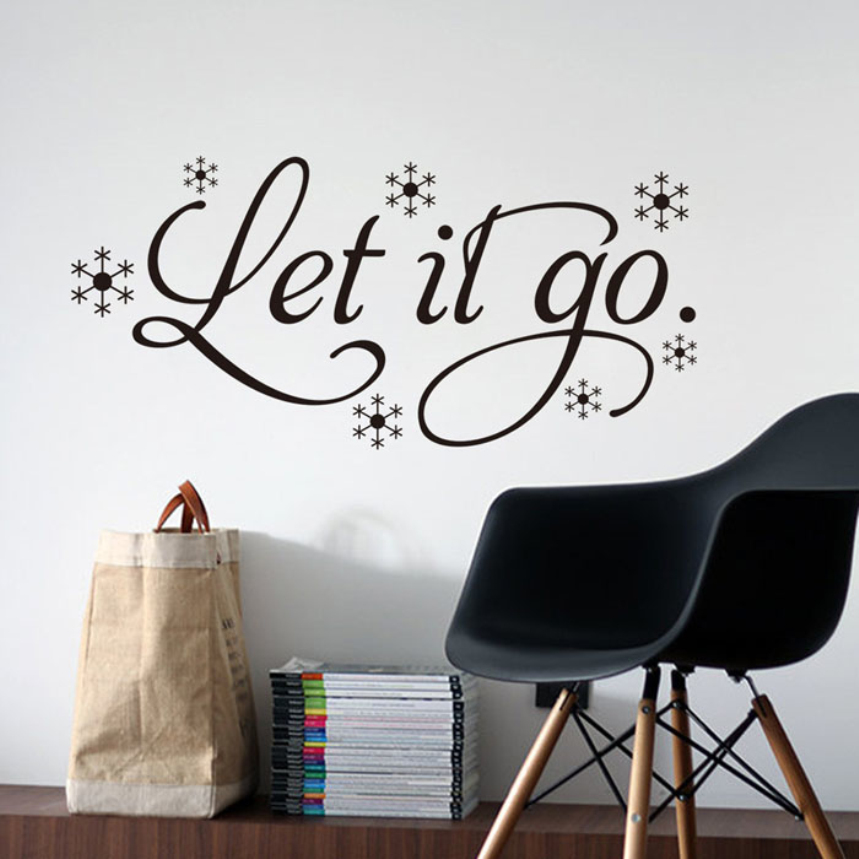 """Top Grand wall stickers home decor -English quote """"Let It Go"""" Vinyl Lettering Words Wall Art Quote Sticky Decals(China (Mainland))"""