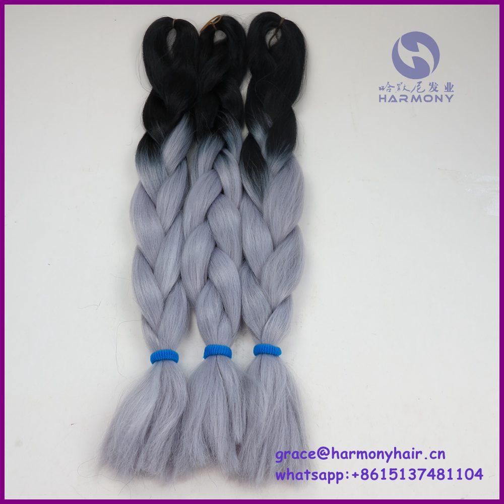 () black + grey color ombre jumbo braid/braids synthetic hair extensions/ombre kanekalon braid - Harmony Fashion extension & tools Supply store