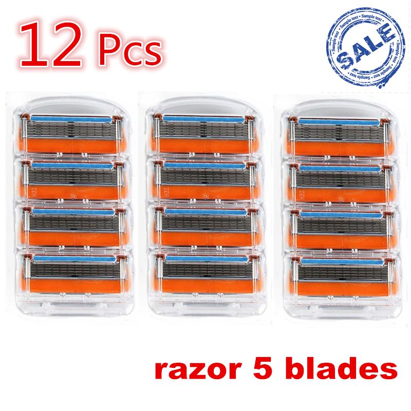 12pcs/pack FP Brand New mache 5 Layer shaving Machine Barber Knives Rzaor System Sharpener Shaver Sharp Razor Blade Men